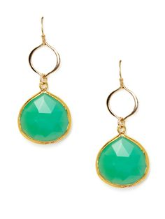 Faceted Green Chrysoprase Drop Earrings by Soixante Neuf at Gilt