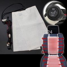 2 stks 1 Seat12V Koolstofvezel Universal Verwarmde Stoelverwarming Pads Auto Hoge/Lage Ronde Schakelaar Heater Warmer