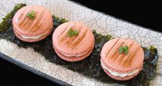Savory French Macaron. Soya sauce, wasabi, green onion cream cheese filling  topped with smoked salmon