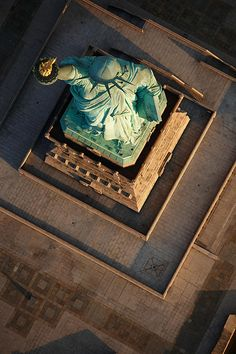 NYC. Bird's eye view of the Statue of Liberty
