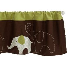 Green and brown elephant valance curtains