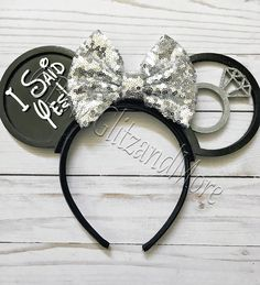 I said Yes! Ears-disney Vacation- Disney engagement- Disney Ears-Optional LED Excited to share this item from my shop: I said Yes! Disney Diy, Diy Disney Ears, Disney Crafts, Disney Mickey Ears, Disney Bows, Disney Shirts, Disney Stuff, Rose Gold Earrings, Wedding Earrings