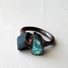 Labradorite Copper Ring Gem Stone Natural Raw Patina by MidwestAlchemy -Dramatic Color