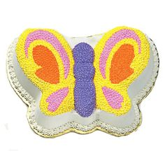 Butterfly Cake  The dazzling and glowing butterfly cake is symbolic of joy,and happiness. Ribbon cake with vanilla cream and sugar syrup layers are coated decorated with butter icing. Weight - 3.6 lbs Royal cakes must be ordered atleast 48 hours prior to the delivery.