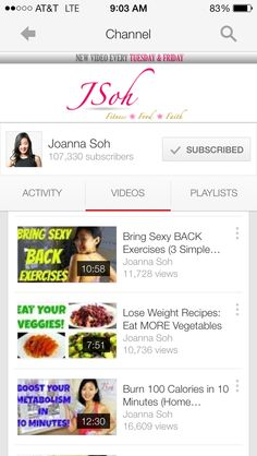 Joanna Soh - inspiring health and fitness. Check her out on YouTube.