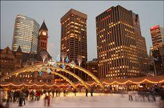 Ice skating in downtown Toronto, Ontario. #Canada #Canadian #Ontario #winter