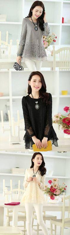 Women's Lace Patchwork Black/Beige/Gray Blouse