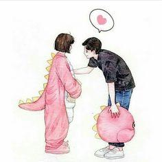 Cute Couple Dp, Cute Couple Drawings, Cute Couple Cartoon, A Love So Beautiful, Cute Love, Arte Peculiar, Anime Love Story, Anime Sisters, Islamic Cartoon