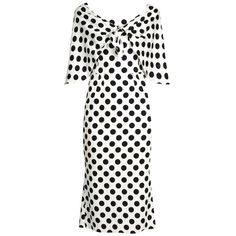 Dolce & Gabbana Tie-front polka-dot print charmeuse dress (35 400 ZAR) ❤ liked on Polyvore featuring dresses, white multi, pattern dress, overlay dress, retro dresses, white polka dot dress and polka dot midi dress