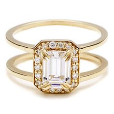 Yellow Gold Emerald Cut Engagement Ring | Anna Sheffield | See more! http://heyweddinglady.com/symbolism-engagement-ring/