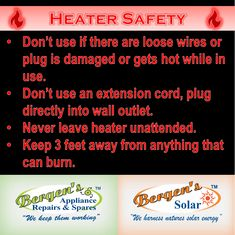 It can get cold out there in Winter months. If you are fortunate enough to have an electric heater, please remember to be responsible and adhere to the safety warnings. Keeping the people we love safe, is always our first priority. #heatersafety #heater #electricplug #bergensappliancerepairs #bergenssolar #loadshedding #babyitscoldoutside #winter #bergensheadoffice  Follow us on Instagram and Pinterest Contact:  071 608 2286 Email:   headoffice@bergens.co.za