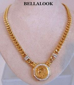 VINTAGE CHUNKY MOGUL ROMAN COIN WITH RHINESTONES GOLD TONE METAL CHAIN NECKLACE #romancoin