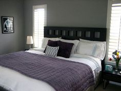 Kim's Relaxed Gray Bedroom Grey Bedroom Paint, Grey Bedroom Design, Grey Room, Gray Paint, Bedroom Designs, Purple Gray Bedroom, Bedroom Apartment, Home Bedroom, Apartment Therapy