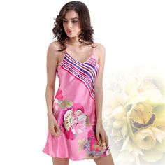 Cheap silk nightgowns, Buy Quality home gown directly from China silk nightwear Suppliers: Satin Silk Nightgown Floral Print Chemise Women Silk Nightwear Pink Silk Home Gown for Girls