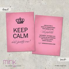 Birthday Invitation Adult Boy Girl Keep Calm By Minkcards On Etsy, $64.00