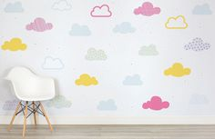 Who said a child's room can't be stylish? OurKids Bright Pastel Clouds Wall Mural is playful yet super modern design that features a pattern of both bright and soft pastel coloured little clouds in pink, yellow, blue and green, gently floating on a toned white background. This wallpaper means that you don't have to sacrifice...  Read more »