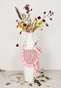 ITEM 6.4 ~ NARCISSUS | Isobel Badin Spring Perennials, Craft Bags, Pink Opal, Wooden Beads, Custom Design, Collections, Hand Painted