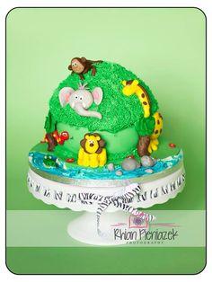 Jungle theme cake. Cakes By Helzbach. Rhian Pieniazek Photography.