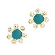 Green Sun Earrings