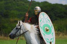 Roman Auxiliary Soldier with Golden Mask on Horseback, Ermine Street Guard, Kelmarsh Festival of History 2009 by Steve Greaves, via Flickr