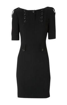 Little Black Dress...Karen Millen Military Crepe Dress Black-193