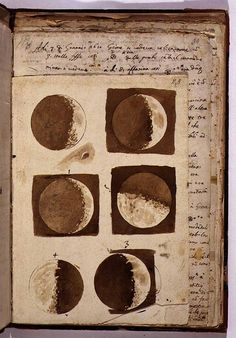 "• GALILEO • sketches of the moon from Galileo's ""Sidereus Nuncius,"" a short treatise on Galileo's early observations of the Moon, the stars, and the moons of Jupiter; it was the first scientific treatise based on observations made through a telescope •"