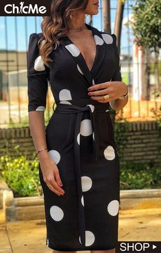 Notched Neck Dot Print Work Dress Women's Online Shopping Offering Huge Discounts on Dresses, Lingerie , Jumpsuits , Swimwear, Tops and More. Trend Fashion, Womens Fashion, Vogue Fashion, Girl Fashion, Sheath Dress, Bodycon Dress, Casual Dresses, Dresses For Work, Dress Work