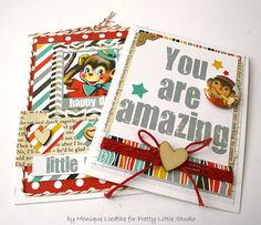 Cards made with Pretty Little Studio's Silly Monkey collection by Monique Liedtke #Pretty_Little_Studio