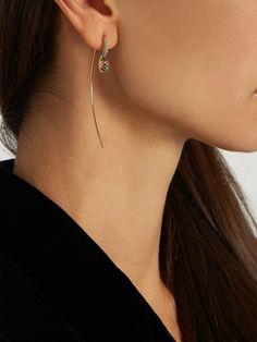 Charlotte Chesnais Hook sapphire, topaz & yellow-gold earring