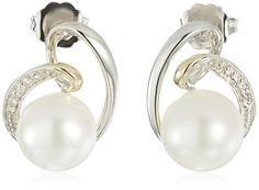 Sterling Silver and 14k Yellow Gold Swirled 9mm Freshwater Cultured Pearl and White Topaz Stud Earrings -- Click on the image for additional details.