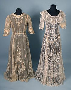 2 Embroidered Net Lace Dresses, c. 1915  Session 2 - Lot 628 -750