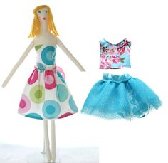 Blonde Cloth Doll With 2 Outfits by Scrapcycling on Etsy