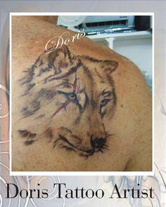 wolf tattoos with scar קעקוע זאב עם צלקת