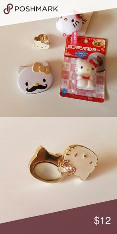 Hello kitty bundle Tin container, toothbrush holder, keychain, translucent hanging pouch, and perfume ring (ring slightly scuffed and perfume used). Hello Kitty Other