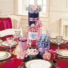 Creating a sweet display for your wedding is simple with this Pink and Navy Candy Buffet idea!