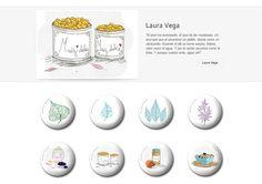 Colección de chapas que Laura Vega expuso en la primera convocatoria de ARTtoGo organizada por PinPonGo