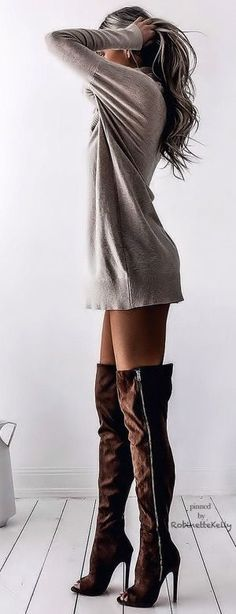Sweatshirt dress long sleeve tshirt long sleeve shirt sweater dress with brown thigh high boots suede boots over the knee boots heels booties #highheelbootslingerie