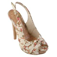 Amazon.com: Brinley Co Womens Floral Peep Toe Slingback Pumps: Shoes