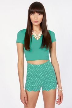 Getting Spot In Here Teal Polka Dot Shorts at LuLus.com!