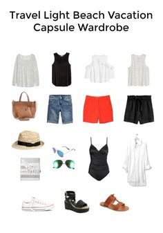 beach vacation clothes This is a Travel Light Beach Vacation Capsule Wardrobe. I usually take more clothes than I need so I created a capsule wardrobe I could mix and match. Capsule Wardrobe, Travel Wardrobe, Wardrobe Ideas, Beach Vacation Wardrobe, Beach Vacation Packing, Vacation Style, Vacation Dresses, Travel Style, Outfit Strand