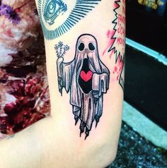 Spooky Ghost Pal done by Jayne at Fidelity Tattoo Company in Middle River, MD Spooky Tattoos, Dope Tattoos, Badass Tattoos, Pretty Tattoos, Beautiful Tattoos, Leg Tattoos, Body Art Tattoos, Tattoo Drawings, Cute Halloween Tattoos