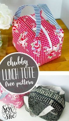 – Lunch Bag – Ideas of Lunch Bag Chubby Lunch Tote Free Sewing Pattern! – Lunch Bag – Ideas of Lunch Bag – Chubby Lunch Tote Free Sewing Pattern! Easy Sewing Projects, Sewing Projects For Beginners, Sewing Hacks, Sewing Tutorials, Sewing Crafts, Sewing Tips, Sewing Ideas, Diy Crafts, Sewing Basics