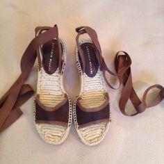 Antonio Melani espadrilles wedges Beautiful ankle tie wedges. canvas upper. Never worn. No fraying of straps. NWOT ANTONIO MELANI Shoes Wedges