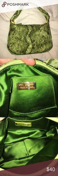 St John Gold Studded Green Snakeskin Small Handbag St. John Gold Studded Green Snakeskin Small Handbag ST JOHN Bags Clutches & Wristlets