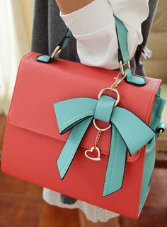 Coral & Mint Commuter Bow Handbag ♥ L.O.V.E.