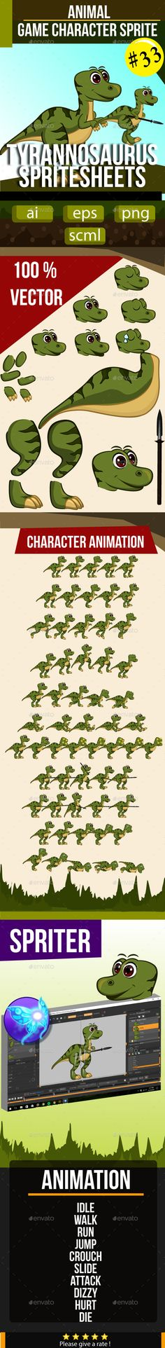 Tyrannosaurus Sprite Sheet — Vector EPS #action #vector • Available here → https://graphicriver.net/item/tyrannosaurus-sprite-sheet/17936191?ref=pxcr