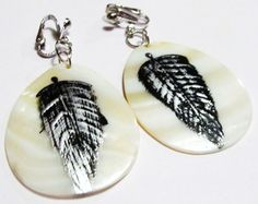 2 1/2 Silver Plated Clip Black Painted Feather Shell by ADKOR, $9.25