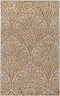 Bob Mackie designed this gorgeous rug with a whimsical oversized damask patterns in hues of gold & copper. From the Moderne Collection by Surya. (MDR-1033)