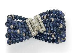 Cartier Art Deco sapphire bracelet with a diamond buckle clasp, 1930s.