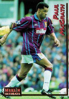 Paul McGrath of Aston Villa in Aston Villa Fc, Football Soccer, Baseball Cards, 1990s, Goal, Stickers, Sticker, Decal